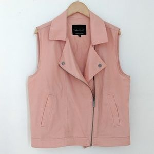 Anthro Sanctuary Asymmetrical Pink Moto Vest sz S